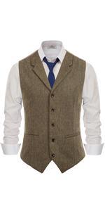 mens western notched lapel tweed dress vest british slim fit herringbone wool suit waistcoat for men