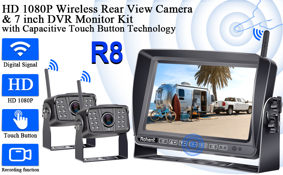 HD 1080P Wireless View Camera &7 inch DVR Monitor Kit with Capacitive Touch Button Technology
