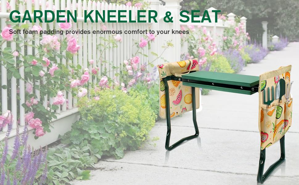 Foldable Garden Bench with EVA Foam Pad