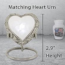 mini white heart urn for ashes