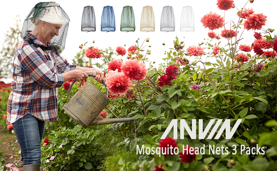 ANVIN mosquito head nets 3 packs