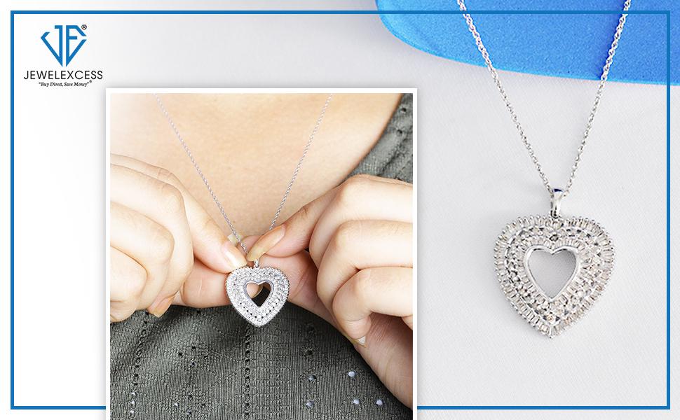 1 Carat White Diamond Heart Pendant in Sterling Silver