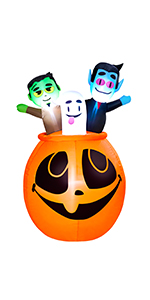 Inflatable Frankenstein Sitting ON The Pumpkin