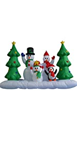 8 Foot Wide Inflatable Snowmen Family with Penguin and Christmas Trees