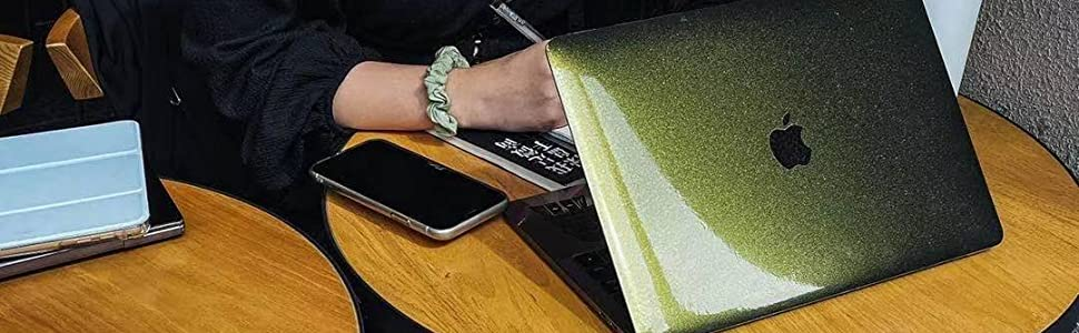 laptop body vinly skin cover sticker for macbook 2021 M1 pro with touhbar gold green metal skin case