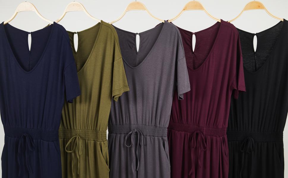 women pure color short sleeve v neck jumpsuit