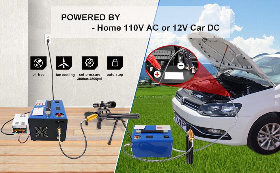 pcp air compressor powered by home 110V AC or 12V car DC