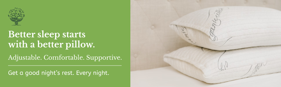 Two pillows stacked on a white mattress made with organic cotton and natural latex