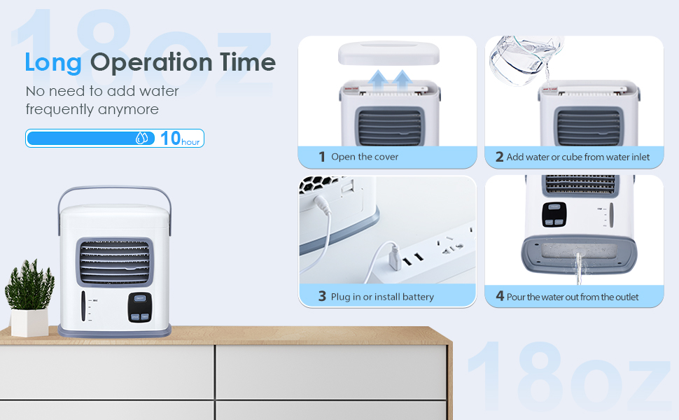 personal ac air cooler fan w/ 500ml large water tank for bedroom