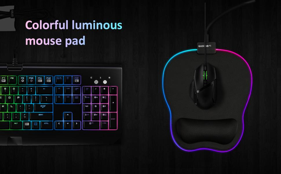 Qudodo RGB Mouse Pad with Wrist Support