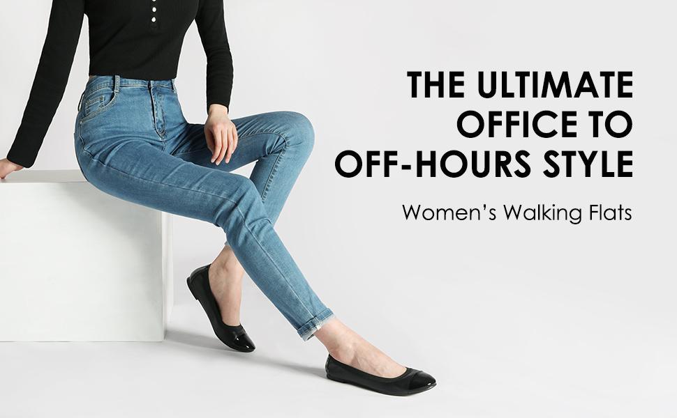 DREAM PAIRS Women's Sole-Flex Black Ballerina Walking Flats Shoes