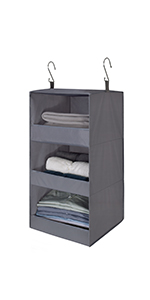 GRANNY SAYS 3-Shelf Hanging Closet Organizer, Collapsible Hanging Shelves, Gray