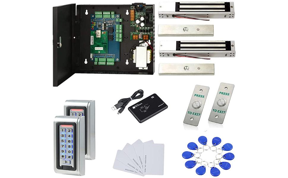 Magnetic Lock Waterproof Keypad Reader Access Control Systems Exit Bubbon Controller 110V Power Box