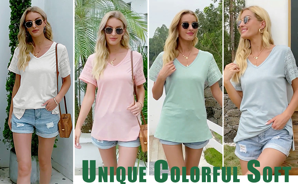 WIHOLL Womens Summer Tshirts Lace V Neck Short Sleeve Tops