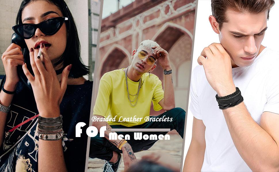 Braided Leather Bracelets for Men Women