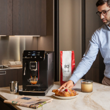 """At under 9"""" wide, the Gaggia Magenta Plus fits nicely on most countertops."""