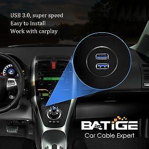 BATIGE - 2 PORTS DUAL USB 3.0 CAR MOUNT FLUSH CABLE SCENES