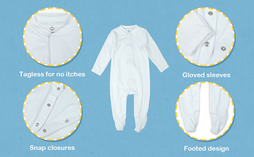 Unisex Baby Footed Sleepsuit Cotton Long Sleeve with Mitten Cuffs Romper Pajamas for Baby Boys Girls