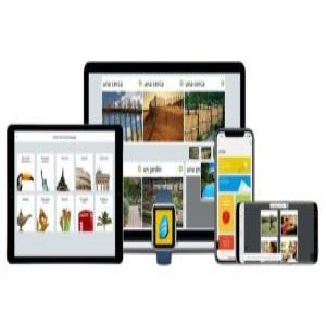 Rosetta Stone learn here, there, anywhere. Works on Windows, Mac, iPhone, Android