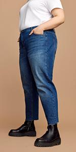 MILLE zizzi damen mom jeans schwarz plus size gut sitzende in größe xl xxl 52 54 56