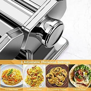 9 Adjustable Thickness Settings, Perfect for Spaghetti, Fettuccini, Lasagna or Dumpling Skins