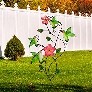 Hummingbirds Garden Stake