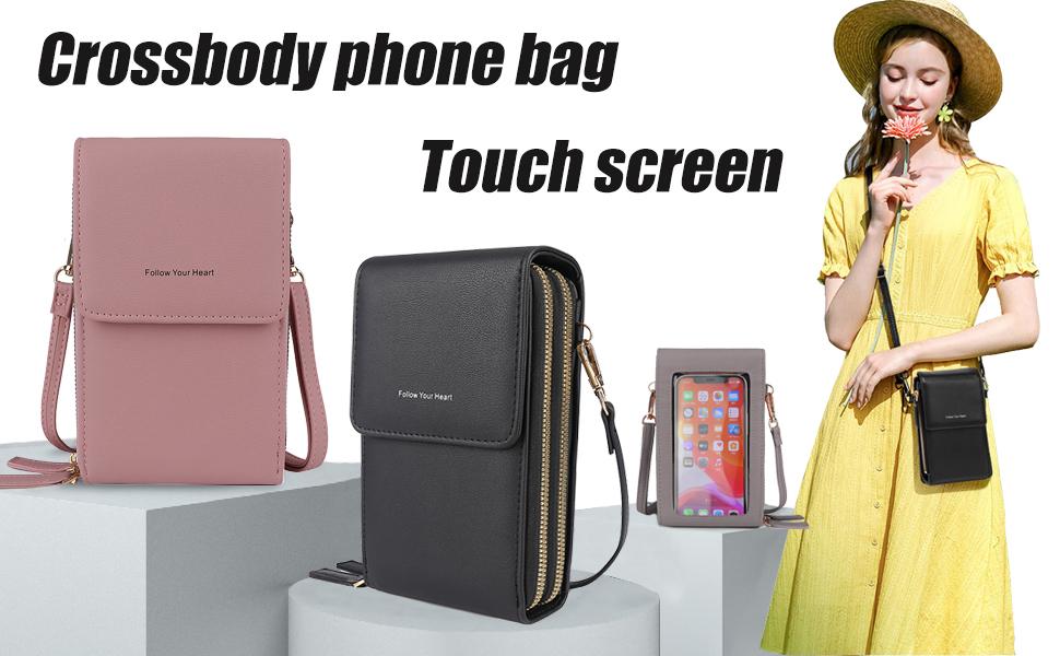 Crossbody phone bag touch screen