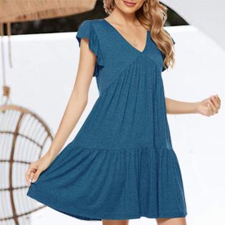 tiered dress womens summer dress sundress women t shirt dress short sleeve dress ruffle dress mini