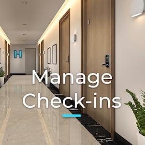 hotel hallway with smart locks