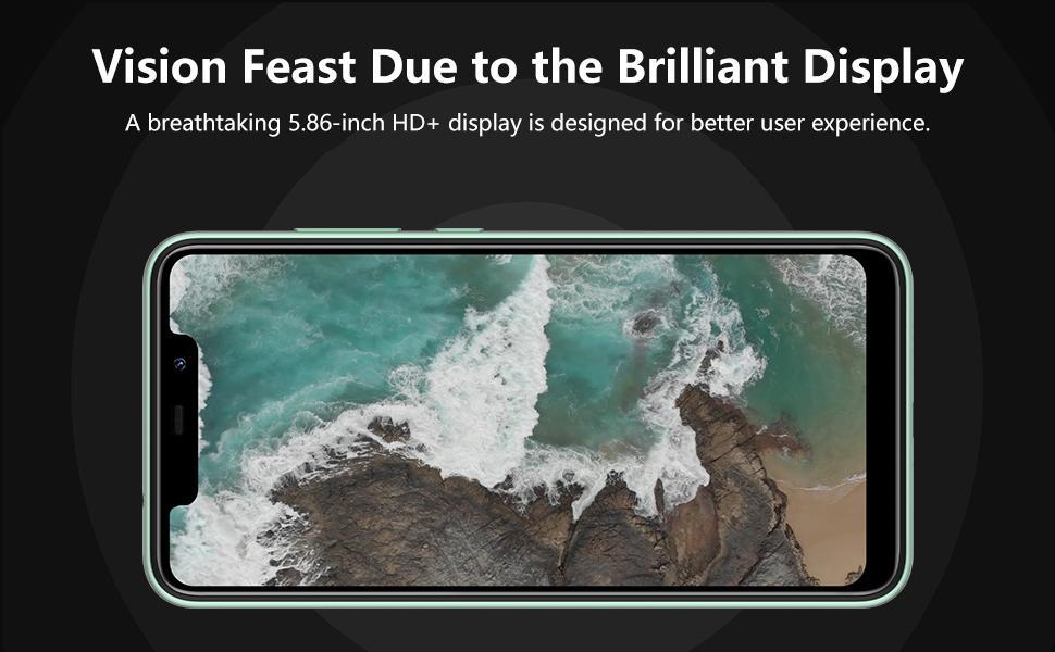 5.86 inch HD display