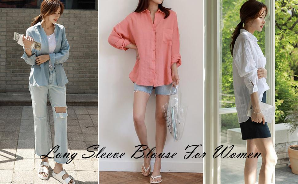 Womens V Neck Shirts Long Sleeve Blouse Roll Up Cuffed Sleeve Casual Work Plain Tops with Pockets
