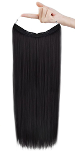 Straight halo hair extensions
