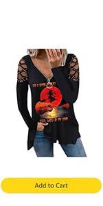 On A Dark Desert Highway T-Shirt Womens Witch Halloween Skull Tops