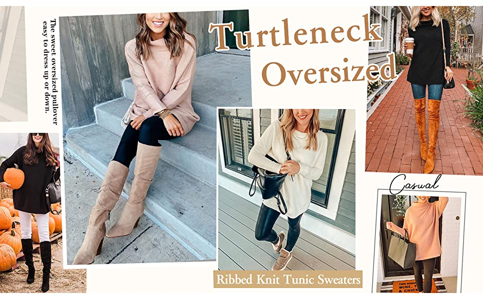 ANRABESS Women Cowl Neck Long Batwing Sleeve Oversized Sweater Casual Loose Slouchy Tunics