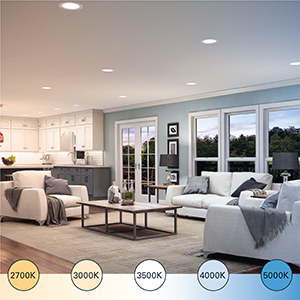 A modern living room and kitchen with HALO ighting throughout