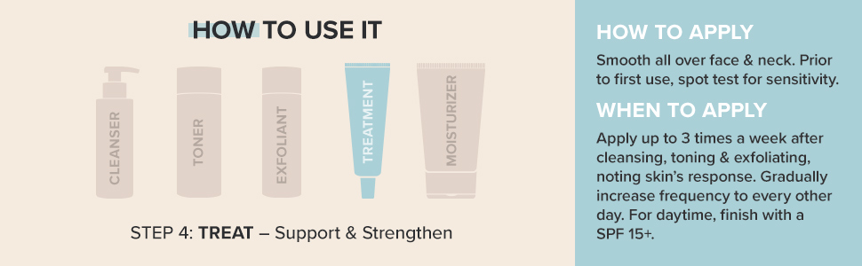 Smooth all over face & neck. Apply up to 3 times a week after cleansing, toning & exfoliating.