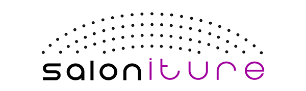 saloniture logo, thick black salon, thin purple iture, 4 curved rows of black dots