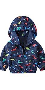 Baby Boy Dinosaur Hooded Zip Jackets