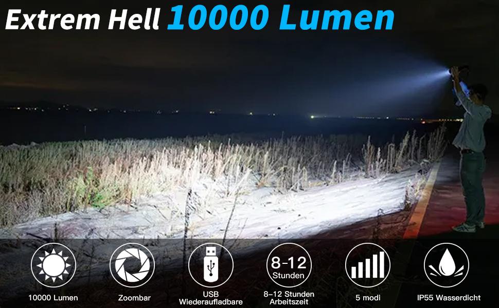 Led-zaklamp 10000 lumen