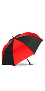 Repel Golf Umbrella Black and Sunset Red