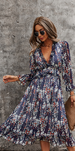 floral ruffle long dress