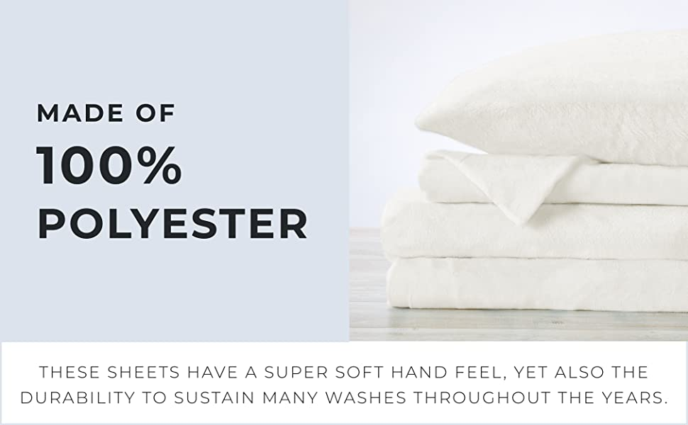 made of 100% polyester, soft and durable sheets
