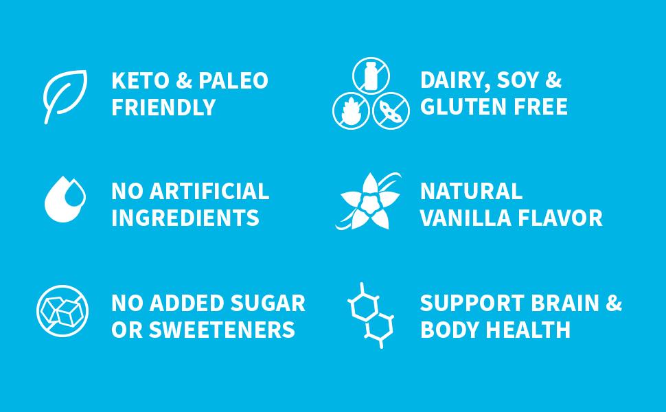 KETO & PALEO NO ARTIFICIAL INGREDIENTS  UNSWEETENED DAIRY FREE NATURAL VANILLA BRAIN & BODY HEALTH