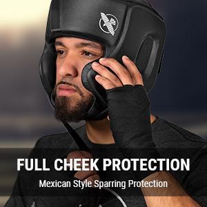 Black Hayabusa T3 Boxing Headgear front view showing cheek protection