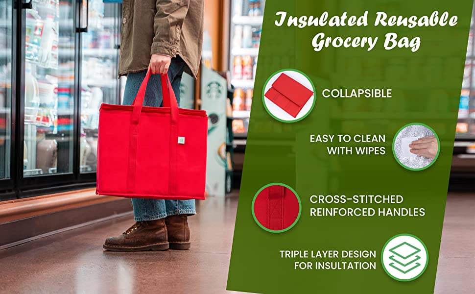 VENO Insulated reusable grocery bag, thermal bag, cooler, food delivery, food transport, heavy duty