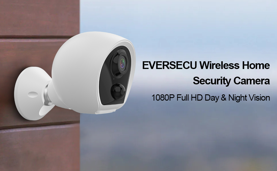 eversecu wireless security cameras system with 16gb sd card preinstalled