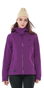 Women Detachable Hood Outdoor Heated Jacket