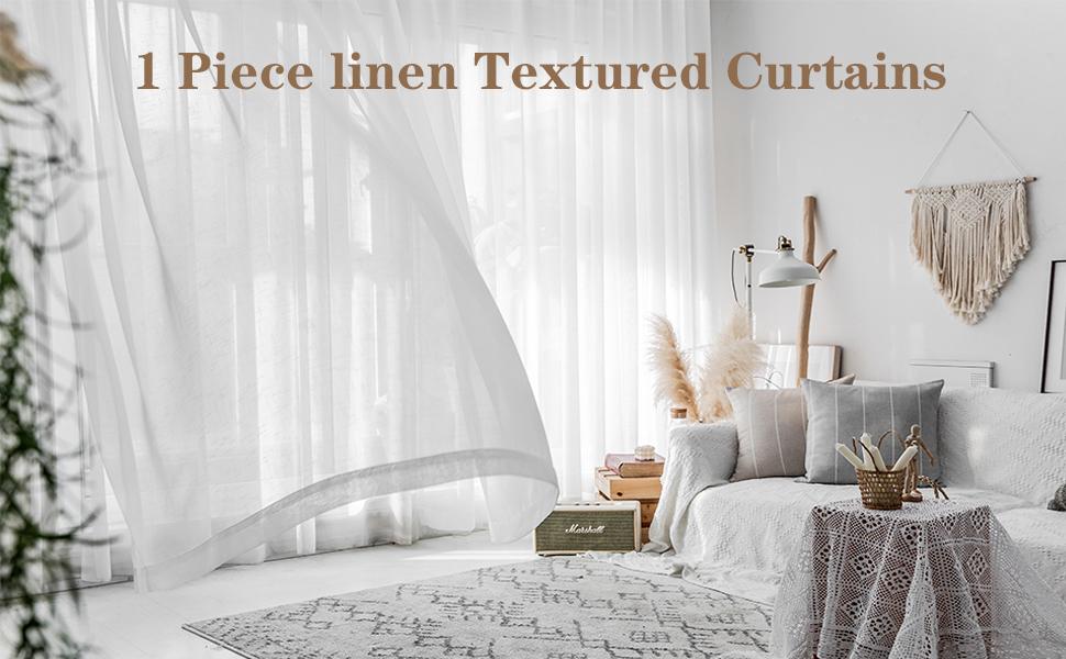 linen texture translucent curtain