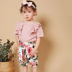 Short-sleeved Ruffle Sets (Pink/Yellow)