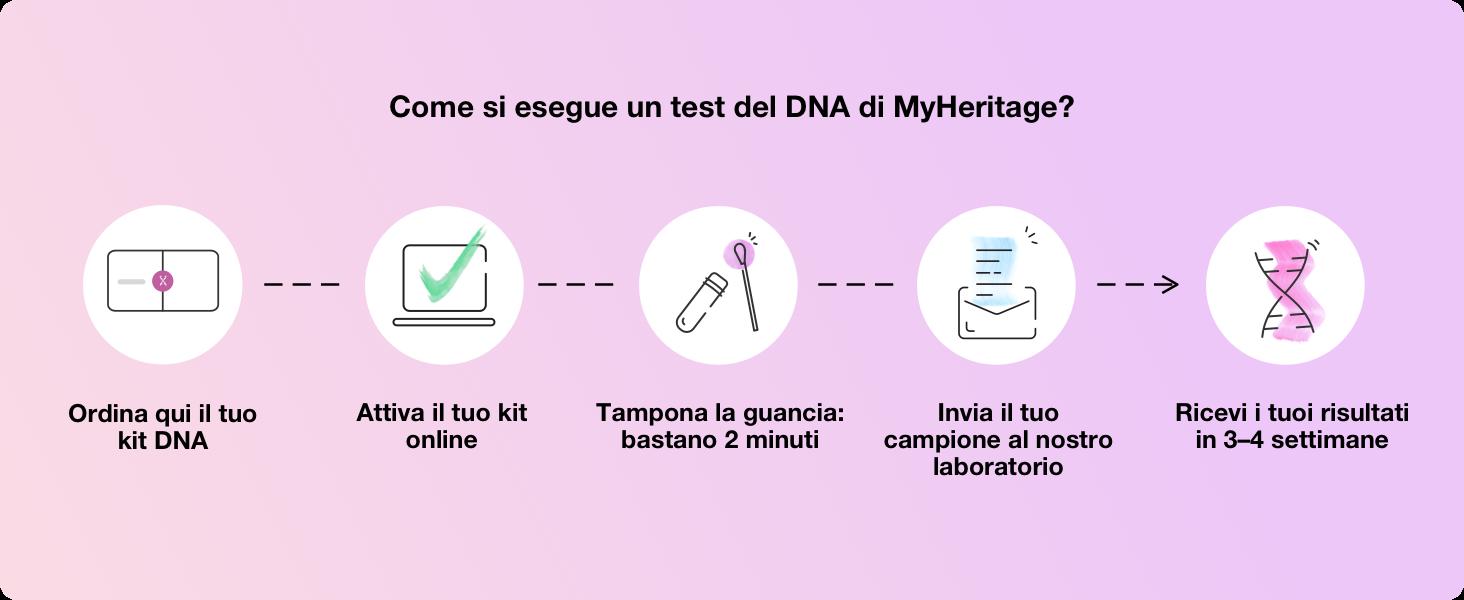 Come si esegue un test del DNA di MyHeritage?